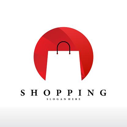 Colorful shopping bags logo design -vector.