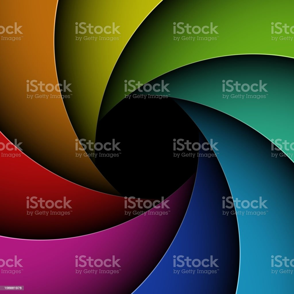 Colorful shutter aperture royalty-free stock vector art