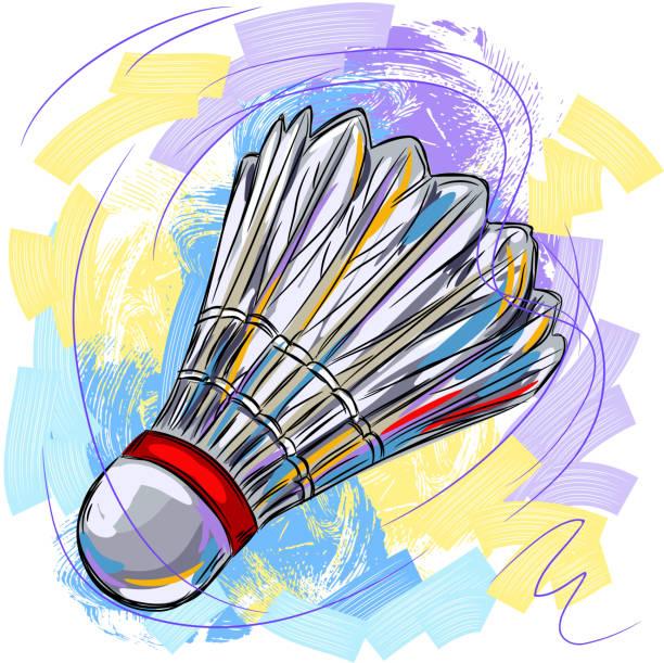 bunte federball - badminton stock-grafiken, -clipart, -cartoons und -symbole