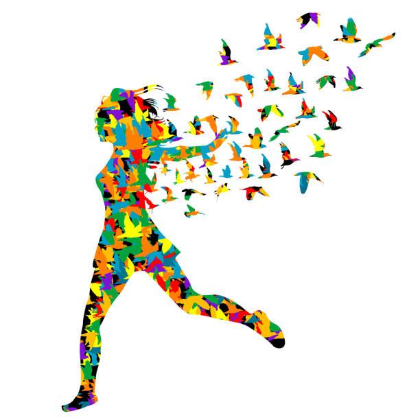 bunte silhouette von jungen frauen, die mit vögeln springen, die von ihr fliegen - gliedmaßen körperteile stock-grafiken, -clipart, -cartoons und -symbole