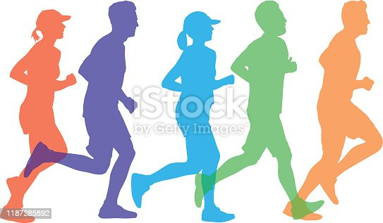 istock Colorful Silhouettes Of People Running 1187285892