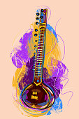 Colorful Sitar, all elements are in separate layers and grouped.created as very artistic painterly style. Please visit my portfolio for more options. http://i1136.photobucket.com/albums/n483/Nagendra_art/media-1.jpg?t=1291448607