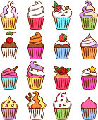 Colorful sketch doodle style cupcakes set