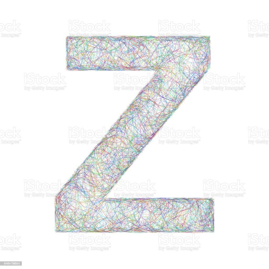 Colorful Sketch Font Design Letter Z Stock Illustration