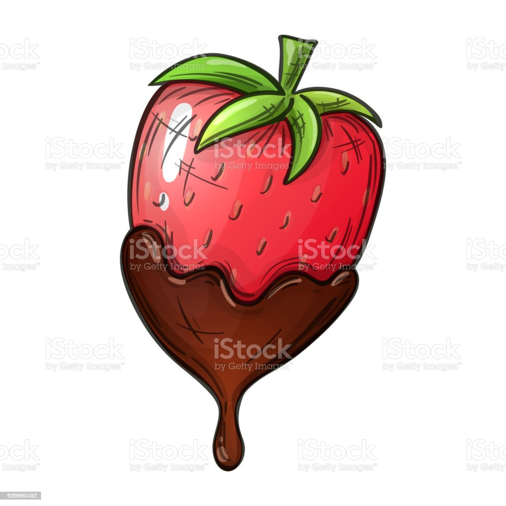 Colorful sketch of strawberry in chocolate vector art illustration