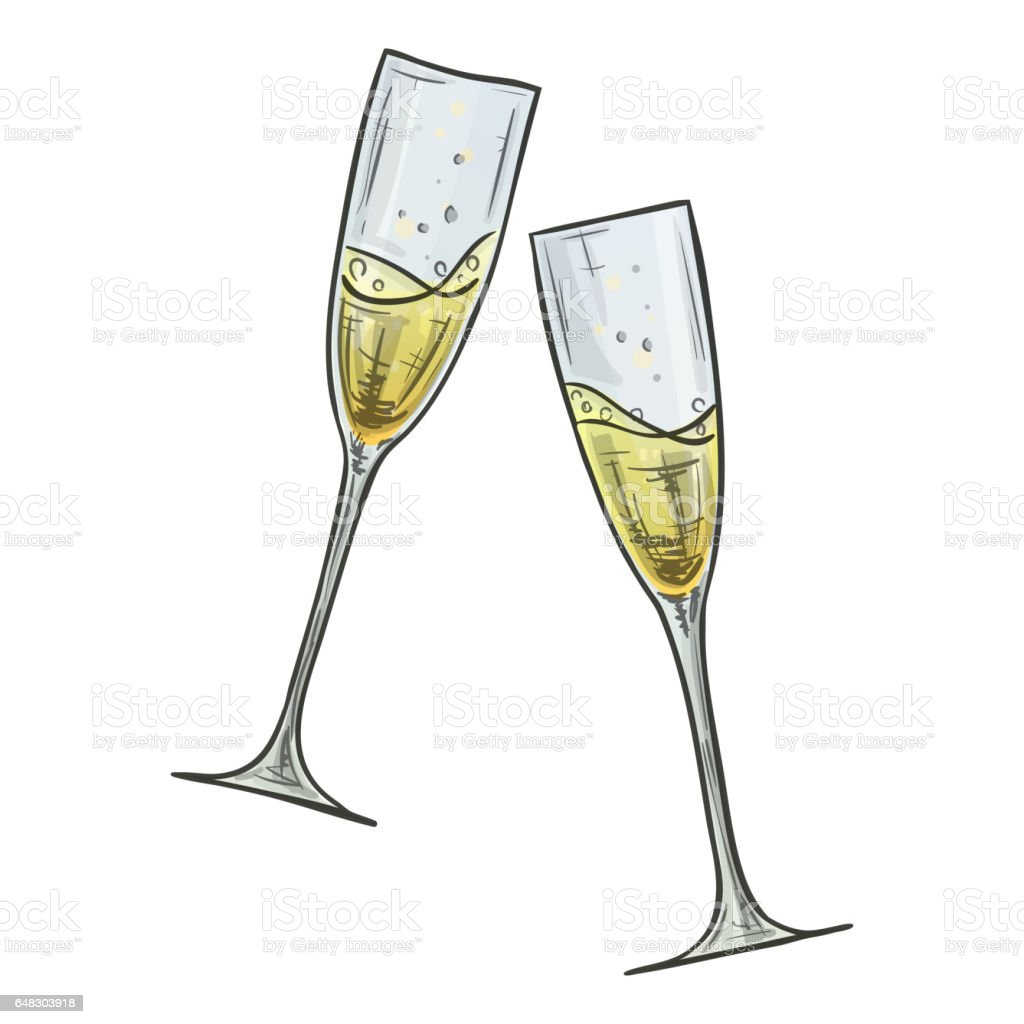 Colorful sketch of two glasses of champagne vector art illustration