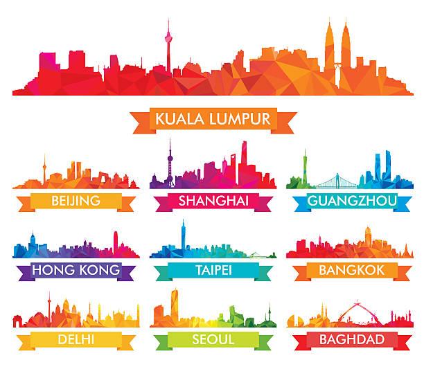 カラフルなアジアの都市の街並み - 台湾点のイラスト素材/クリップアート素材/マンガ素材/アイコン素材