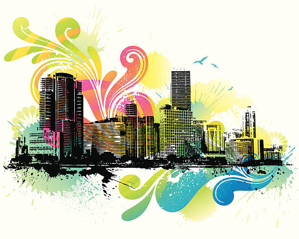 Colorful Skyline Colorful Skyline. Global color used and layered. Hi res jpeg included. Please take a look at other works of mine linked below. miami stock illustrations