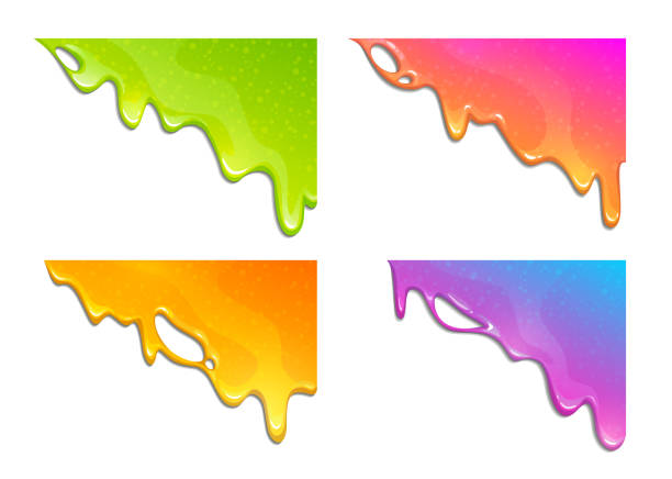 Abstract ink color splash banners set.