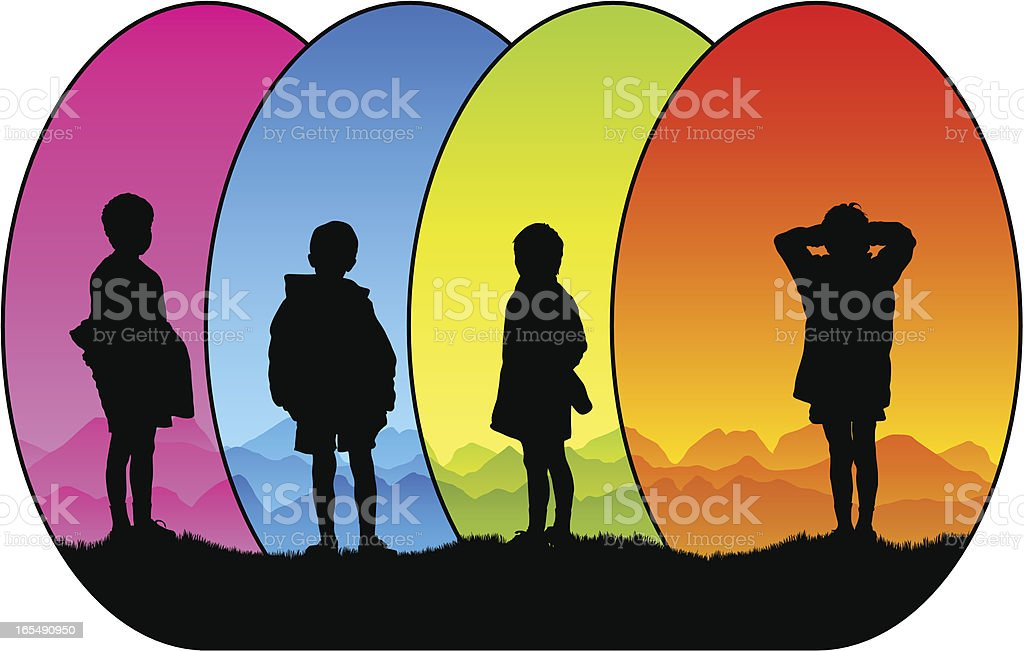 Colorful small boy silhouettes royalty-free stock vector art
