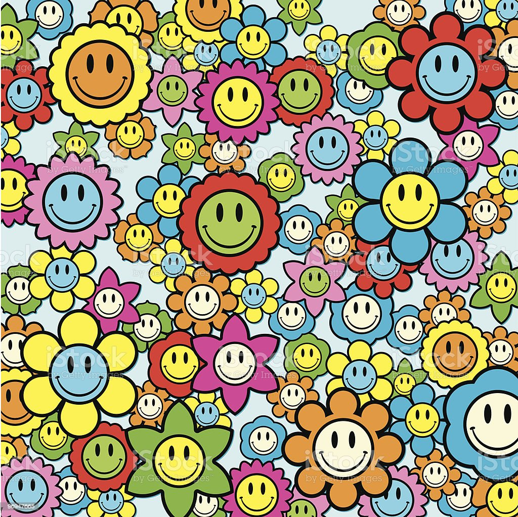 Colorful smiley face flower background - vector royalty-free colorful smiley face flower background vector stock vector art & more images of abstract