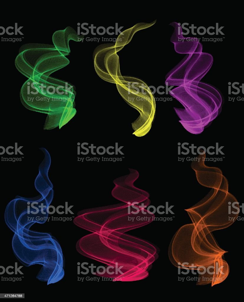 Colorful smoke clouds vector art illustration
