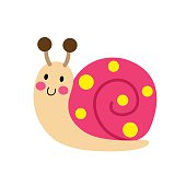 Colorful Snail animal cartoon character. Isolated on white background. Vector illustration.