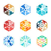 Vector illustration of a collection of vibrant color snowflakes design elements