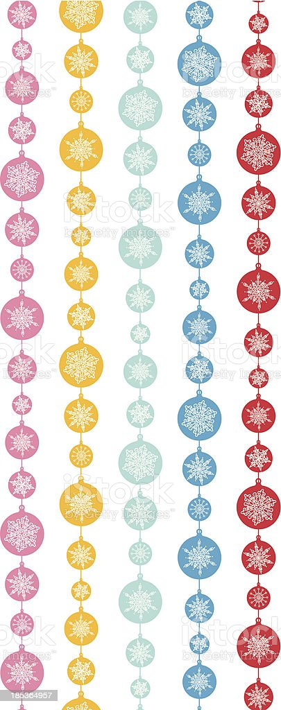 Colorful Snowflakes Stripes Vertical Seamless Pattern Background royalty-free stock vector art