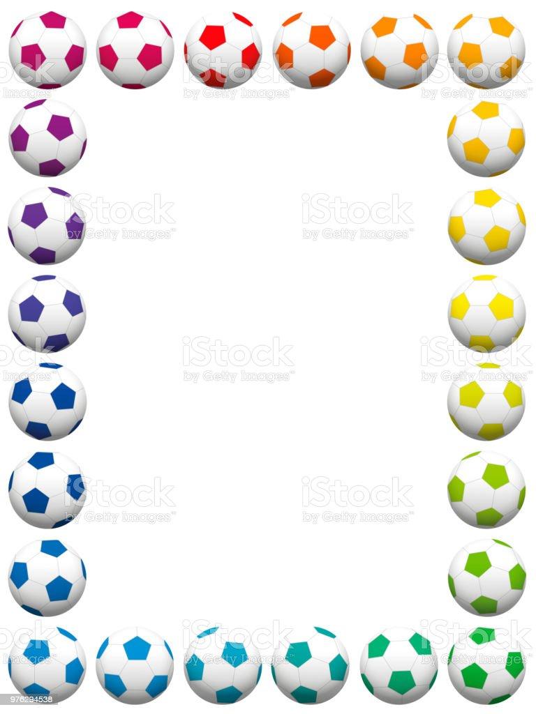 Bolas de futebol coloridas, quadro vertical. Ilustração em vetor isolado no fundo branco. - ilustração de arte em vetor