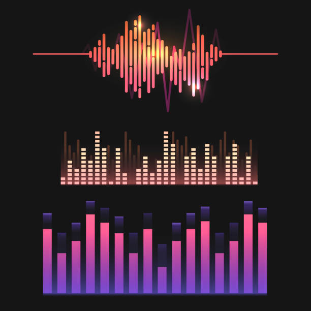 Colorful sound wave equalizer vector design set Colorful sound wave equalizer vector design set electronic music stock illustrations
