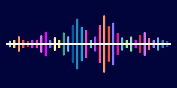 bunte klangwelle vektor hintergrund - audiozubehör stock-grafiken, -clipart, -cartoons und -symbole