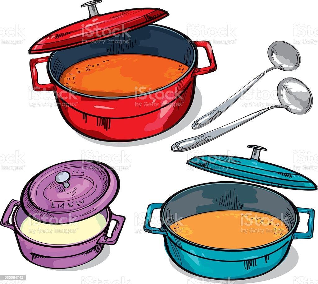 colorful soup pan assorted. sketch vector illustration. vector art illustration