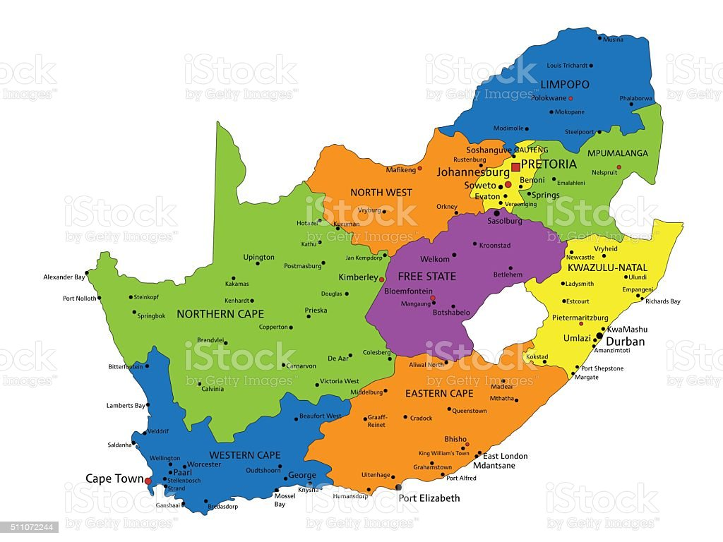 Colorful South Africa Political Map With Clearly Labeled Separated