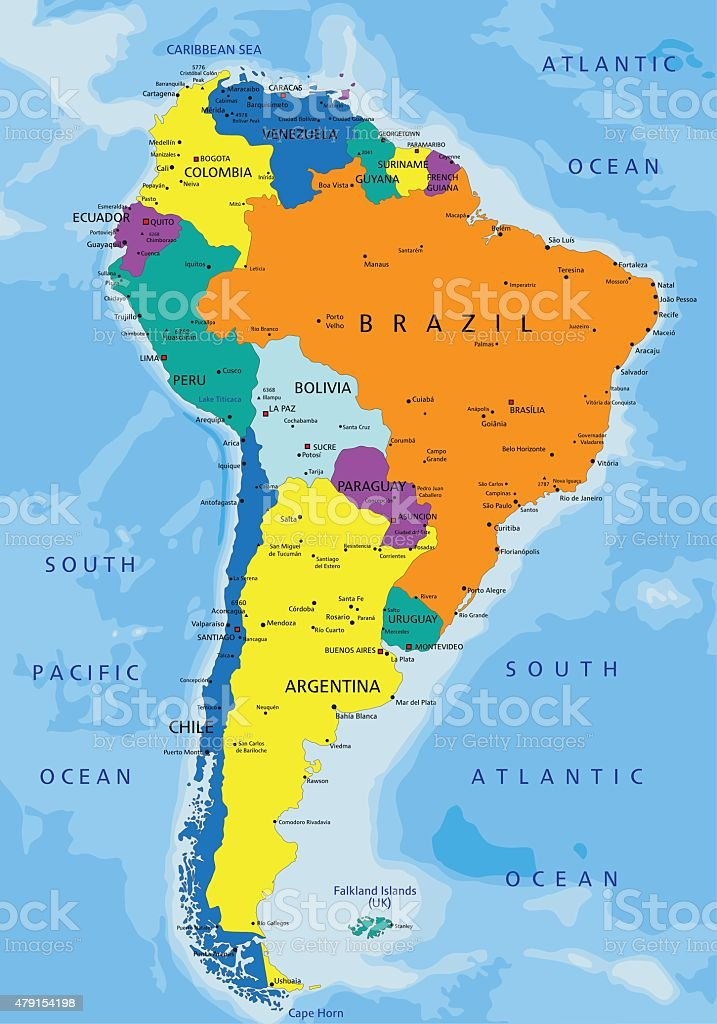 Colorful South America Political Map Stock Vector Art & More Images ...