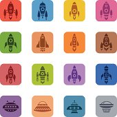 Colorful Space Rocket Icons