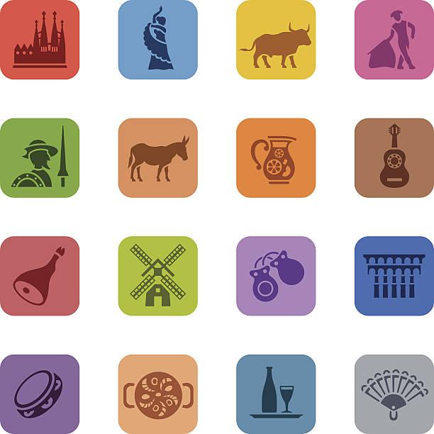 スペインのアイコンのカラフルなセット - スペイン料理点のイラスト素材/クリップアート素材/マンガ素材/アイコン素材