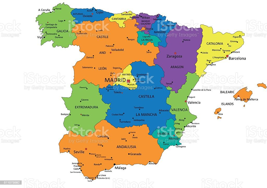 Map Of Spain Labeled.Colorful Spain Political Map With Clearly Labeled Separated Layers