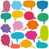 Colorful vector speech and thought bubbles set