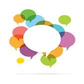 Vector illustration of colorful speech bubble copyspace.