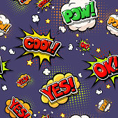 Colorful speech bubbles and explosions in pop art style.  Design comic. Ok, cool, yes, pow, oops  comic fonts.