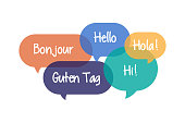 Colorful Speech Bubbles set with Hello in Different Languages - Bonjour, Hello, Hi, Hola, Guten Tag
