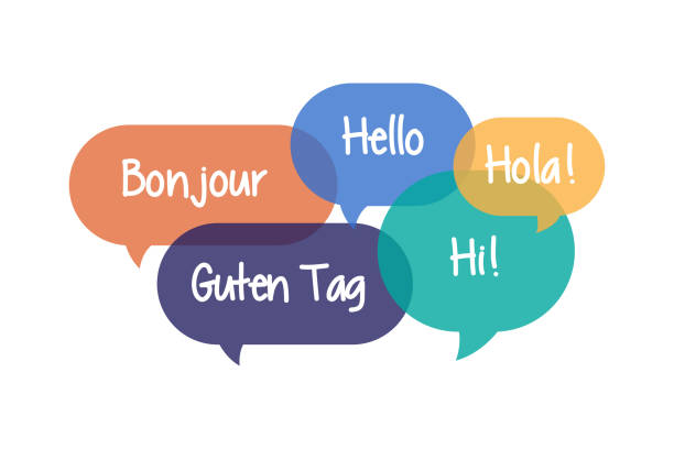illustrazioni stock, clip art, cartoni animati e icone di tendenza di colorful speech bubbles set with hello in different languages - spagnolo lingua