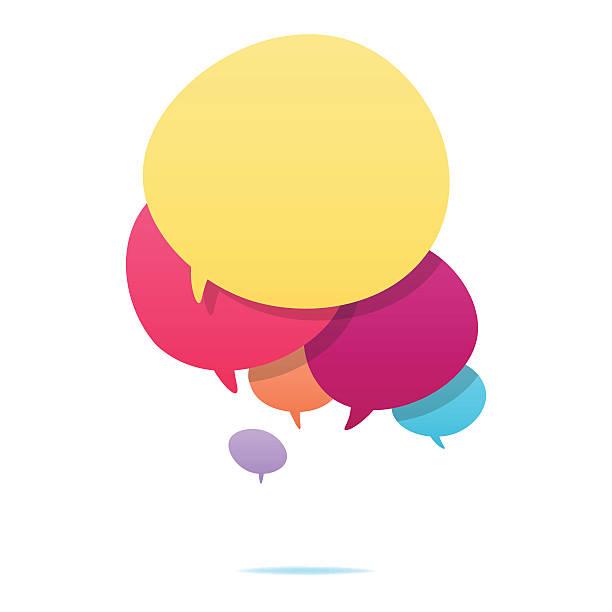 ilustraciones, imágenes clip art, dibujos animados e iconos de stock de colorido discurso burbujas - reunión evento social