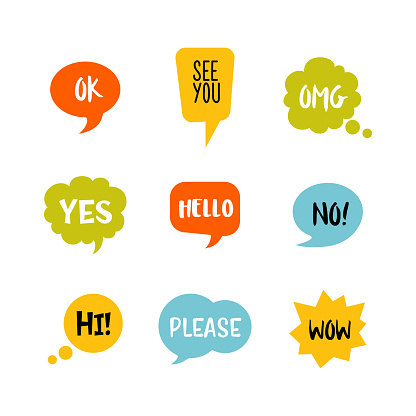 Colorful speech bubbles with short message vector icon set