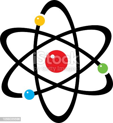 Vector illustration of an atom with colorful spheres.
