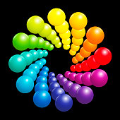 Colorful spiral pattern, very shiny rainbow spectrum formed by many three-dimensional colored balls. Vector illustration on black background.