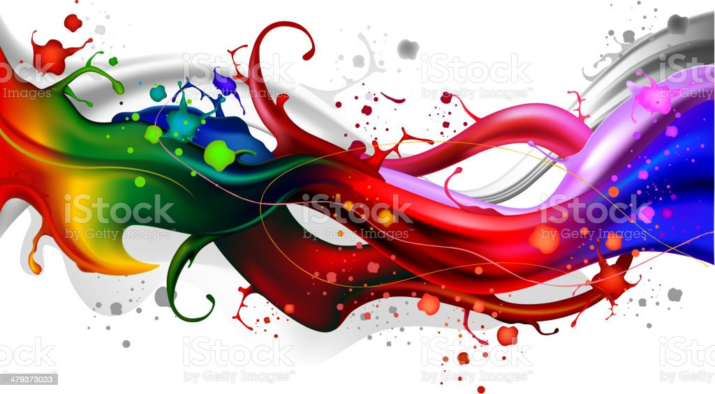 Colorful splash waves royalty-free stock vector art