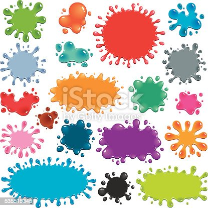 Vector illustration of 19 colorful splats. Each splat is a different vibrant color in a shade of blue, green, orange, red, grey, pink or purple. The splats have darker or lighter areas that imply greater thickness of material, and white highlights that indicate light reflection, making them appear to be shiny.