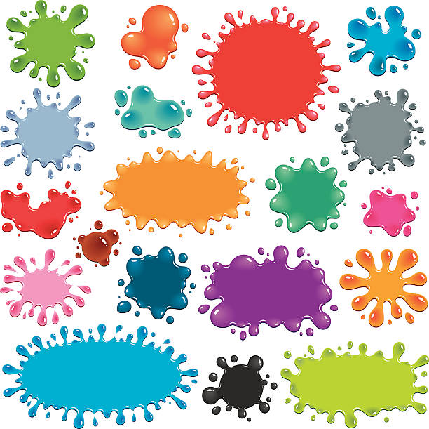 Colorful Splats Vector illustration of 19 colorful splats. Each splat is a different vibrant color in a shade of blue, green, orange, red, grey, pink or purple. The splats have darker or lighter areas that imply greater thickness of material, and white highlights that indicate light reflection, making them appear to be shiny. jello stock illustrations