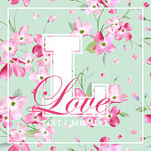 Colorful Spring and Summer Flowers Graphic Design for T-shirt, Fashion, Floral Prints in Vector
