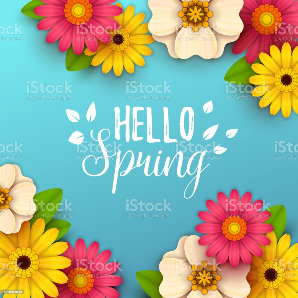 Bunte Frühlings-Hintergrund mit schönen Blumen – Vektorgrafik