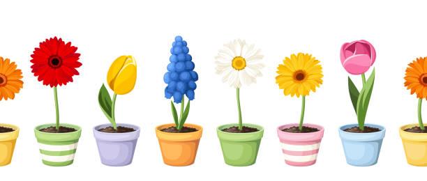 Bunte Frühlingsblumen in Töpfen. Vektor horizontaler nahtloser Hintergrund. – Vektorgrafik