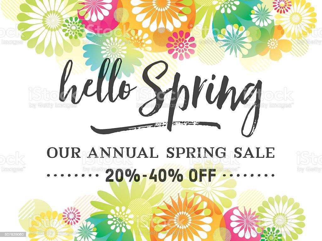 Colorful Spring Graphic Flower Borders vektör sanat illüstrasyonu