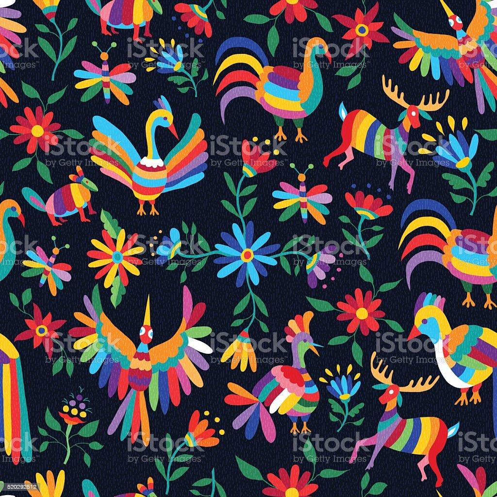 FARBENFROHER FRÜHLING Muster mit wilden Tieren und Blumen – Vektorgrafik