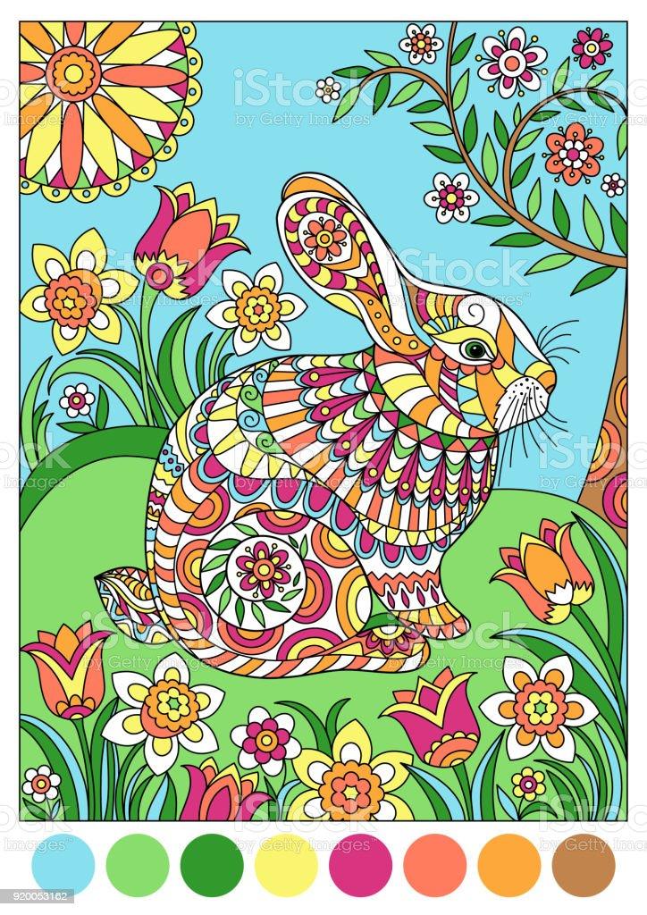 Renkli Bahar Tavşan Için şablon Veya Boyama Kitabı Kapak Stok Vektör