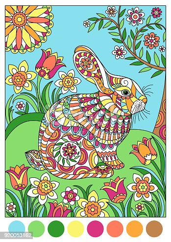 Colorful spring rabbit for template or cover coloring book