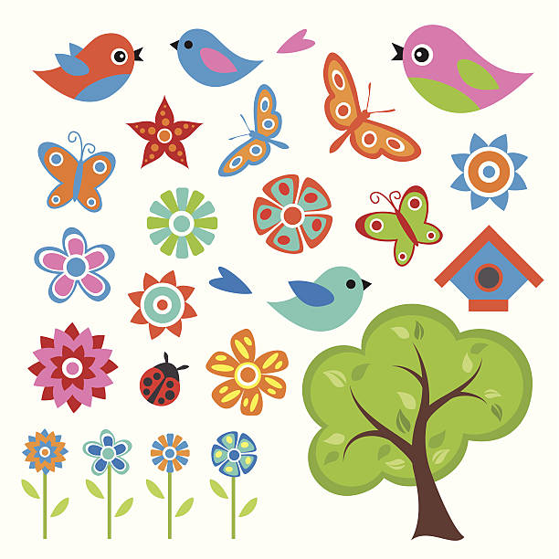 Colorful Spring Set Colorful Spring Set bird clipart stock illustrations