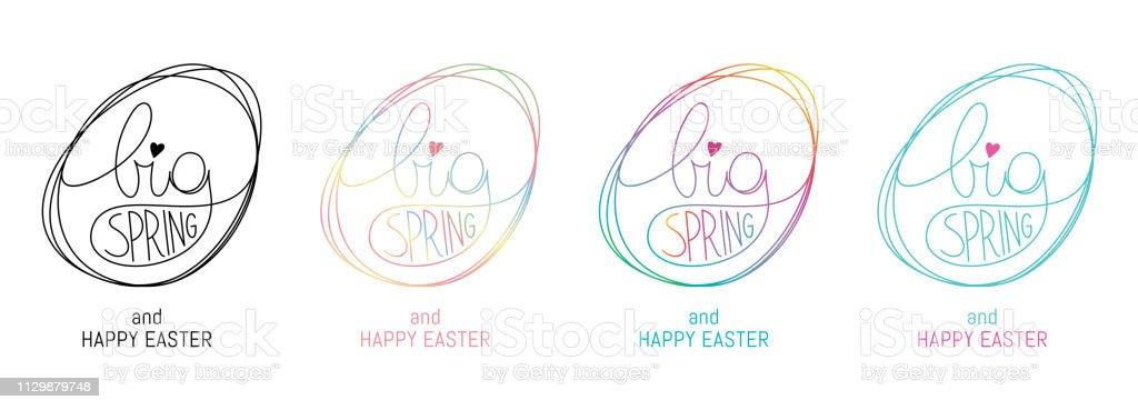 Texte lettrage logo coloré printemps temps, idéal pour les cartes de voeux, invite, affiche pour le printemps et Pâques - Illustration vectorielle