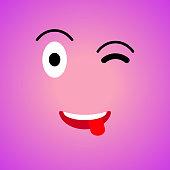 Colorful square emoji. Big flat cartoon style. Face funny backgound. Vector illustration